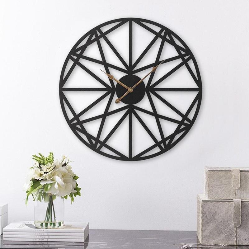 Creative Retro Large Wall Clock Metal Round Face Black