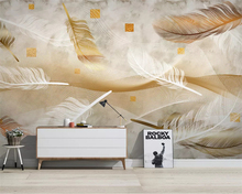 beibehang papel de parede Nordic modern minimalist golden feather line TV background painting wall papers home decor wallpaper