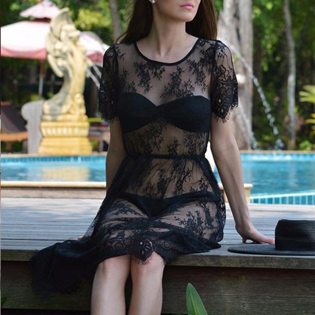 New Women Lace Dress Casual Long Black Short Sleeve O Neck See Through Beach Wear Dresses