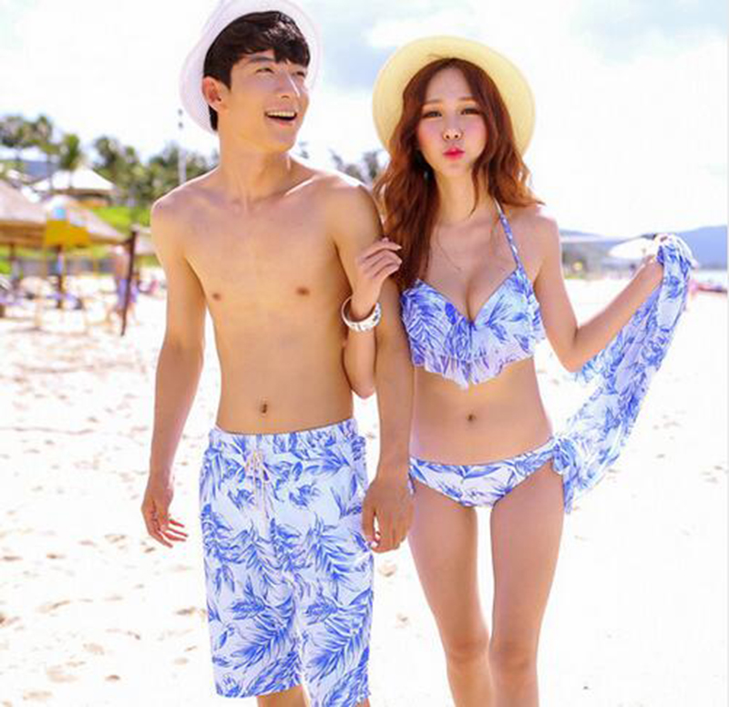 2018 Couple Swimwear Sexy Bikinis Men's   Board     Shorts   Lover   Shorts   Couple Beach Wear Swimsuit Women   Board     Shorts   Bikini Sets