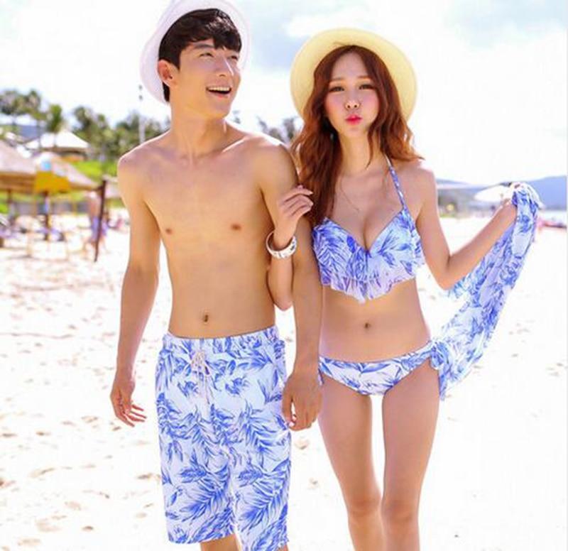 2018 Couple Swimwear Sexy Bikinis Men's   Board     Shorts   Lover   Shorts   Couple Beach Wear Swimsuit Women   Board     Shorts   Bikini Sets