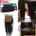 8А Перуанский волосы шелк закрытие с связки, необработанные наращивание волос 3 связки с закрытием 4x4 Коричневый шелк Основе Закрытие