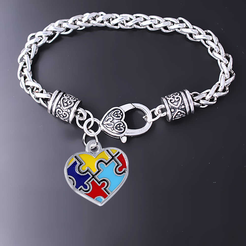 Изысканная эмаль в форме сердца металлический аутизм головоломка Шарм Плетеный Браслет-цепочка для аутизм подарок ювелирные изделия браслет