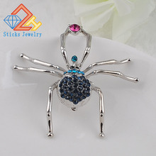 2015 Fashion Jewelry Plated Lovely Spider Crystal Rhinestone Scarf Clip Red Brooches bouquet For Women