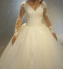 цены на Vestido De Noiva Ball Gown wedding dress robe de mariee Sexy V neck Wedding Dresses 2018 Long Sleeves Lace-up Bridal gowns dress  в интернет-магазинах