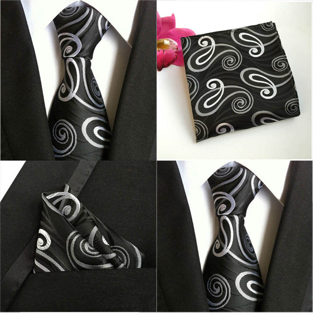 Mens Necktie Ties Pocket Square Handkerchief Black White Paisley Floral HZTIE0061
