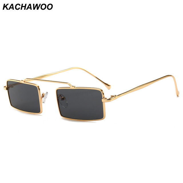 25f7afd5403 Kachawoo mens narrow sunglasses square retro metal frame silver gold red full  black sun glasses women summer accessories
