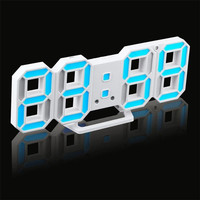 3D LED Desk Night Alarm Clock Hanging Digital Wall Clocks 24 12 Hour Display Battery USB
