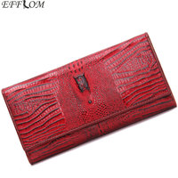 Aligator Grain Genuine Leather Women Wallets Slim Hasp Card Holder Phone Coin Female Purse Wallet Red