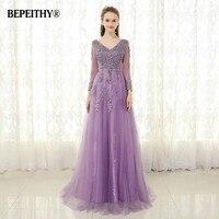 BEPEITHY Purple Long Evening Dress Full sleeves Vestido De Festa 2020 Lace Vintage V neck Elegant Prom Gowns Robe De Soiree