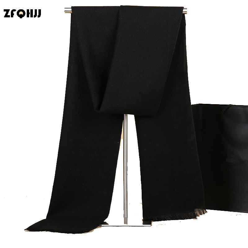 ZFQHJJ Brand Genuine Men's Cashmere Scarf Fashion Pure Color Classic Warm Winter Scarf Scarves Stole Wraps Shawl 180x30cm