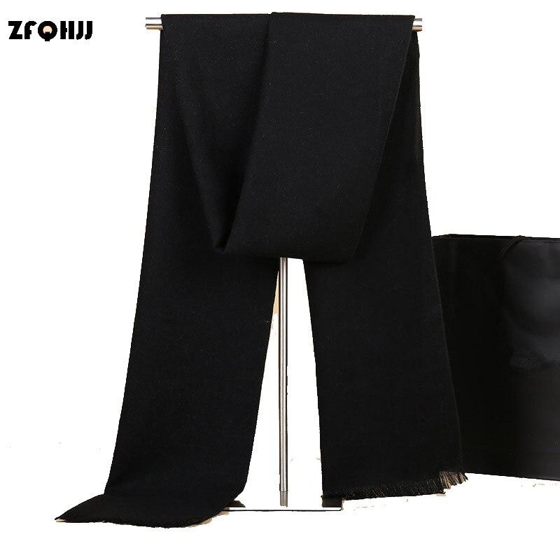 ZFQHJJ Brand Genuine Men's Cashmere Scarf Fashion Pure Color Classic Warm Winter Scarf Scarves Stole Wraps Shawl 180x30cm