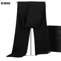 ZFQHJJ Brand Genuine Men S Cashmere Scarf Fashion Pure Color Classic Warm Winter Scarf Scarves Stole