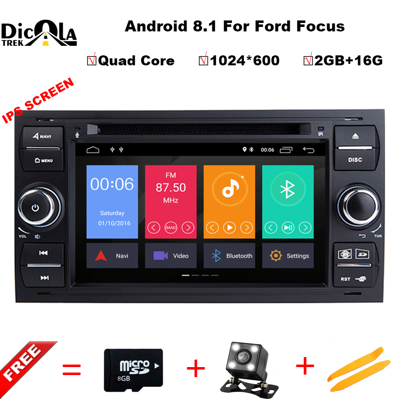 IPS HD 2 Din Quad Core Android 8.1 Voiture Lecteur DVD GPS Navigation WIFI 4g pour FORD S- max Kuga Fusion Transit Fiesta Focus II