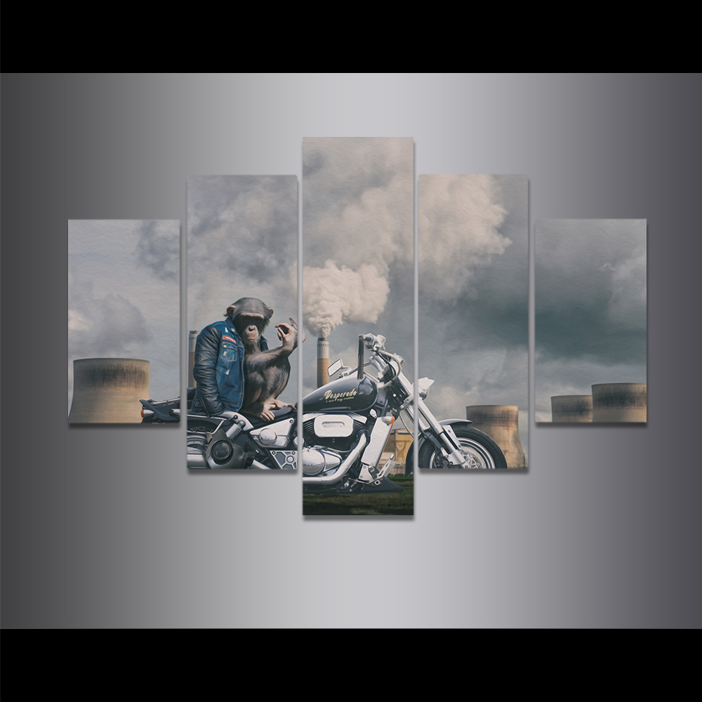 Unframed Canvas Painting Smoke Chimney Motorcycle Monkey Irony Picture Prints Wall Picture For Living Room Wall Art Decoration