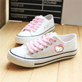White canvas shoes woman lace hand-painted cartoon casual shoes flat espadrilles breathable zapatos mujer