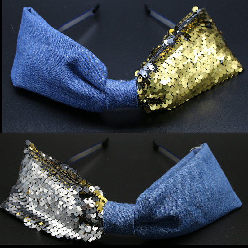 SEQUINCE Denim Matching Large Bow Hairband for Women