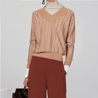 2018 Winter New Fashion Casual Women's Vertical Striped V-Neck Shoulder Sleeve Sweaters Knitting Slim Clothing Wool Pullovers