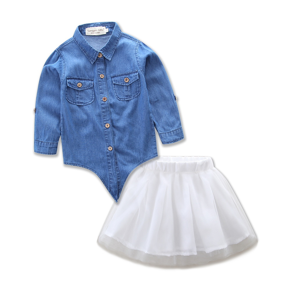 2018 Mother & Kids Clothing Set Matching Outfits Mommy and Me Fashion Clothes Mom Daughter Denim shirt White Tulle Tutus Skirt