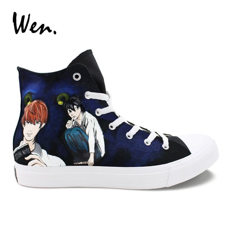 Wen Design Hand Painted Shoes Anime Death Note Men Casual Canvas Sneakers Women High Top Espadrilles Boy Girl's All-season Shoes trendy letter heart round rhinestone bracelet for women