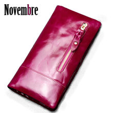 2017 New Fashion Genuine Leather Vintage lengthy ladies's purse ladies's Wallet Clutch wallets ladies purses visiting playing cards Bag girls