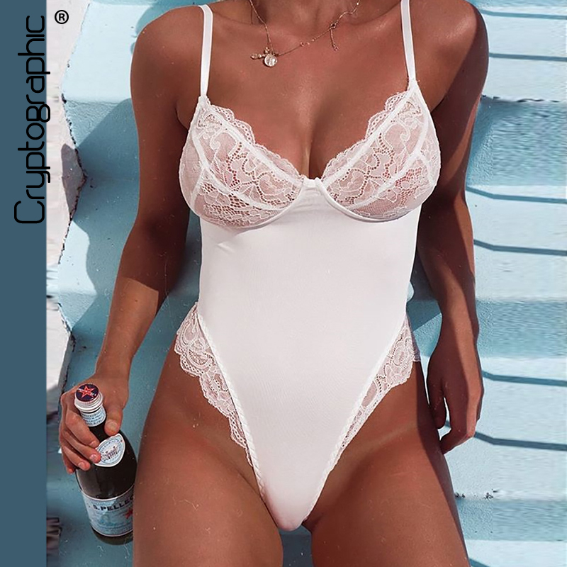 Cryptographic Sexy V Neck White Lace Bodysuit Hot Summer Body Women Patchwork   Jumpsuit   Sheer Bodysuits Straps Overalls Teddy