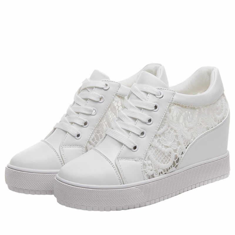 a9089fe7cf2 Black White Hidden Wedge Heels Sneakers Ladies Casual Shoes Woman High  Platform Shoes Women's High Heels Wedges Shoes For Women