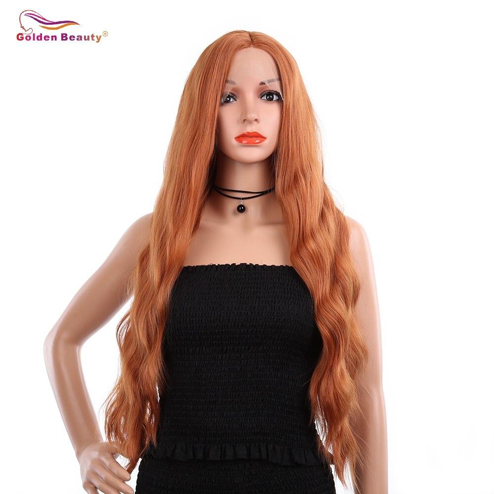 Золотой Красота 30 дюймов в длину оранжевый волнистые синтетические Синтетические волосы на кружеве парик жаропрочных боковая часть Медь к...