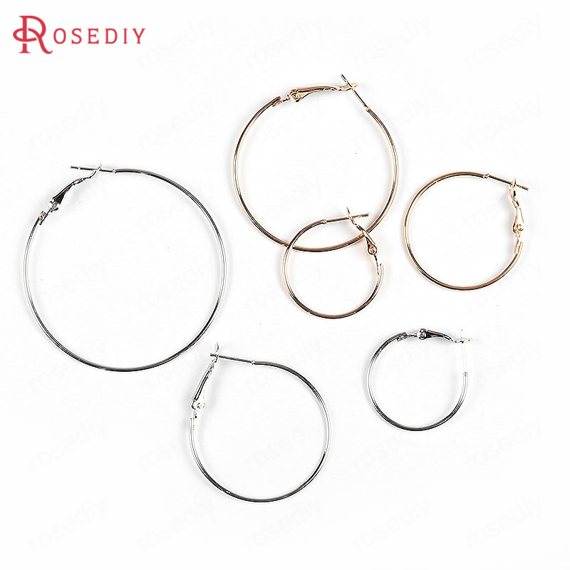 20PCS 25MM 30MM 35MM 40MM 50MM 24K Gold Color Iron Round Circle Loop Earrings Hoops Diy Jewelry Findings Earrings Accessories yidensy 100pcs metal big circle wire hoops earrings loop 20 25mm gold silver for diy earring jewelry making findings