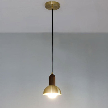 Simble Nickel Brushed Metal Shade with Wood Handle Cord Hanging Light with E27 Edison Bulb for Loft Bar Cafe Bedside Lamp