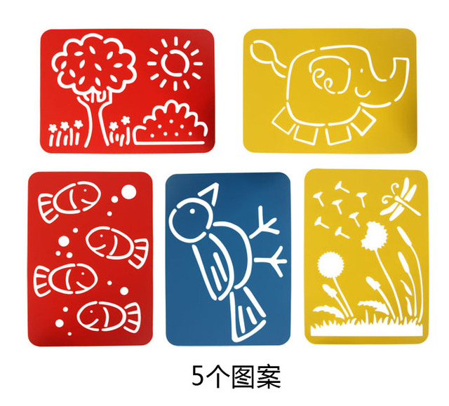 drawing toys 5pcsset childrens painting tool large pvc template cartoon animal plant painting template