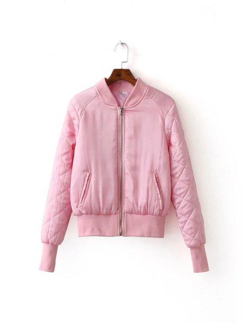 O envio gratuito de outono e inverno das mulheres ocasional curto parágrafo chiffon gola bolso com zíper Fino casaco do uniforme