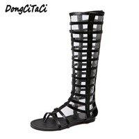 Yueqina New Women Knee High Sexy Gladiator Sandals Shoes Woman Flip Flop Cut Outs Zipper Flat