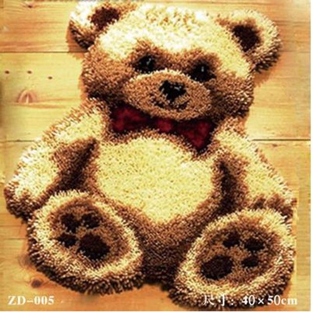 Kits de Crochê Tapete do Gancho da trava Conjunto Almofada Do Sofá para o Bordado Tapete Tapete Fio Tapeçaria de Parede Urso Branco Decoração de Casa Chão mat