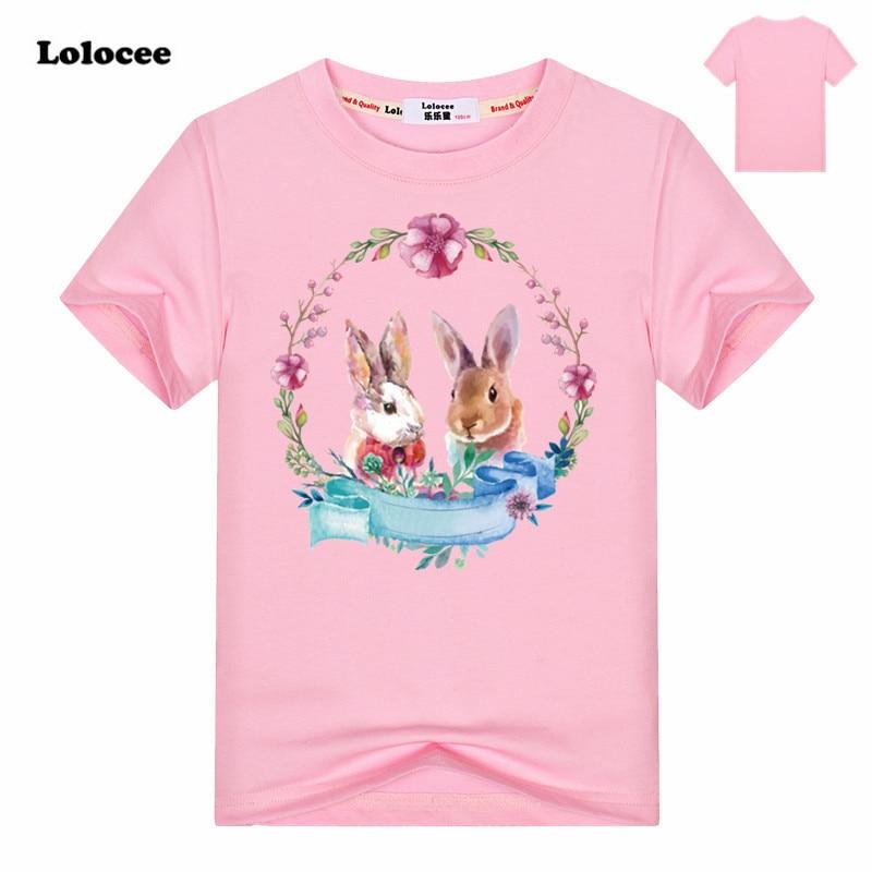 100% Baumwolle Neue Sommer Mädchen Niedlichen Häschen T-shirt Kurzarm Cartoon Tier Kinder Kleidung Tops Schöne Kaninchendruck Mädchen T Shirts Das Ganze System StäRken Und StäRken