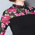 2016 Осень Новый Шифон Рубашка Мода Женщины Блузки С Длинным Рукавом Стенд шея Кружева Рубашки Цветочные Печати М-5XL Плюс Размер Топы 61B 25