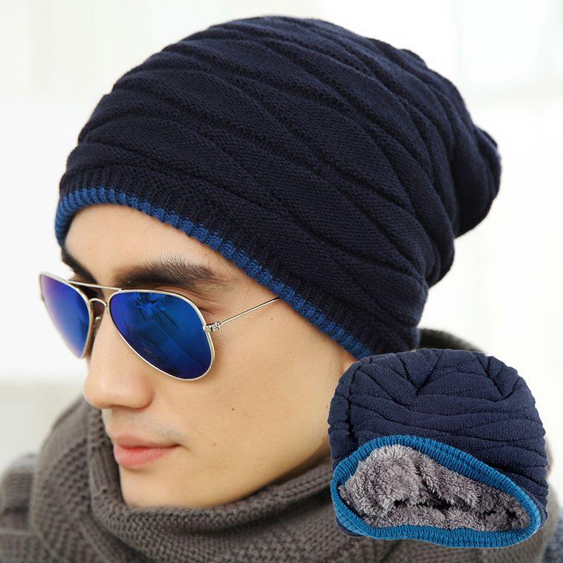 2018 nueva moda unisex añadir terciopelo gorros sombrero hecho punto  caliente hombre y mujeres sombrero de invierno de color sólido elástico de  alta calidad ... 1f9d1f77069