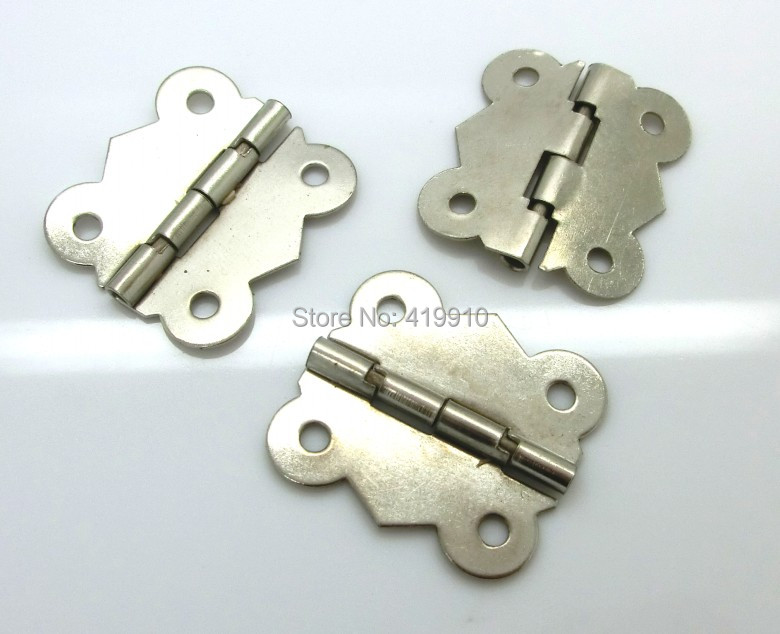 Free Shipping-30pcs Silver Tone (rotated From 90 Degrees To 210 Degrees) 4 Holes Door Box Butt Hinges 3x2.6cm J2017