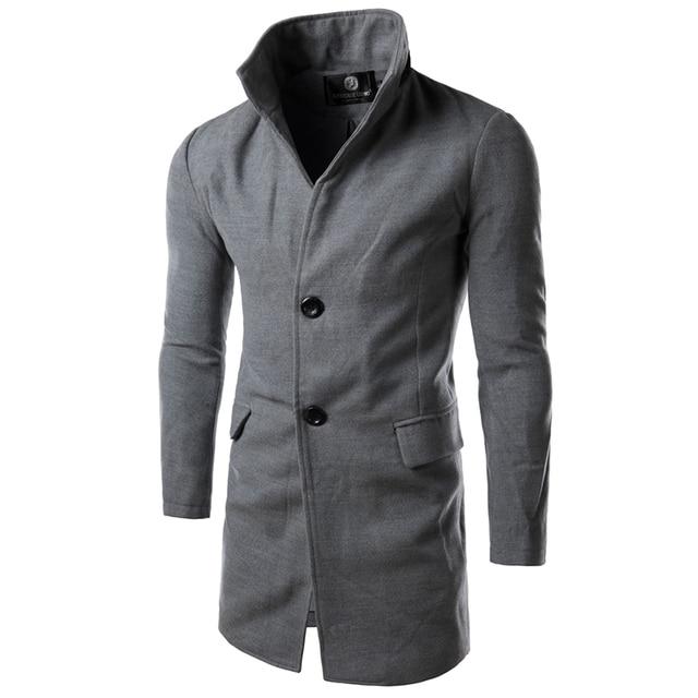 Nova chegada 2016 Mens inverno Trench Coat Turn Down Collar Manteau Homme longo Trench Coat homens de alta qualidade dos homens casaco 14HZ02