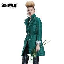 Skinnwille 2017 Женская куртка пуховик тонкий женский легкое удобное женское пальто хлопок женские ветровки на раней осень весна качество фабричное Приятная ткань