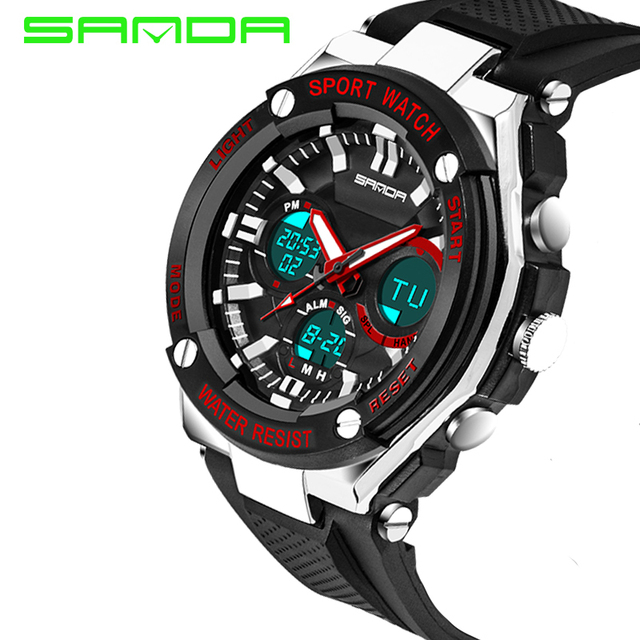 NEW SANDA Sports Brand Watch Men's Digital Shock Resistant Quartz Alarm Wristwatches Outdoor Military LED Casual Watches 2016