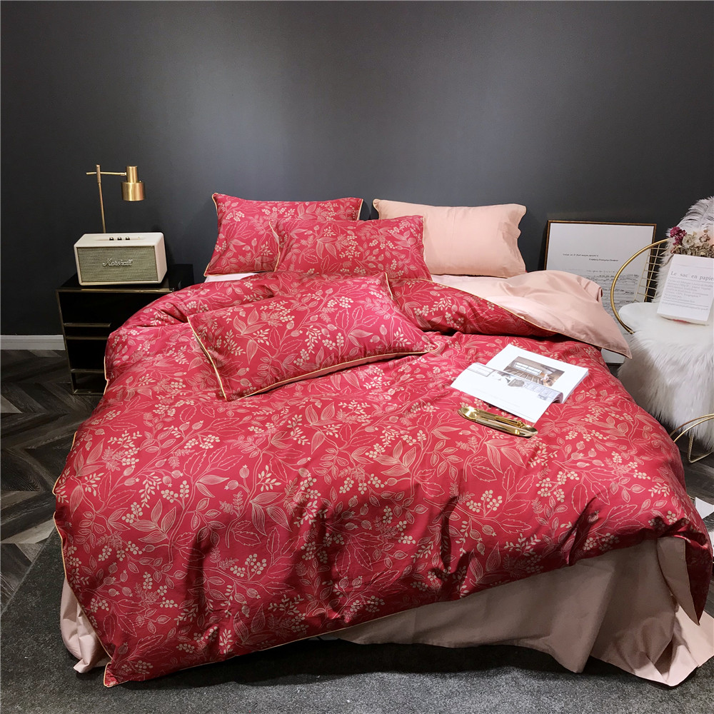 Digital printing Egyptian cotton red Leaves king queen Double twin size bedding set 4pcs duvet cover set sheet pillowcaseDigital printing Egyptian cotton red Leaves king queen Double twin size bedding set 4pcs duvet cover set sheet pillowcase