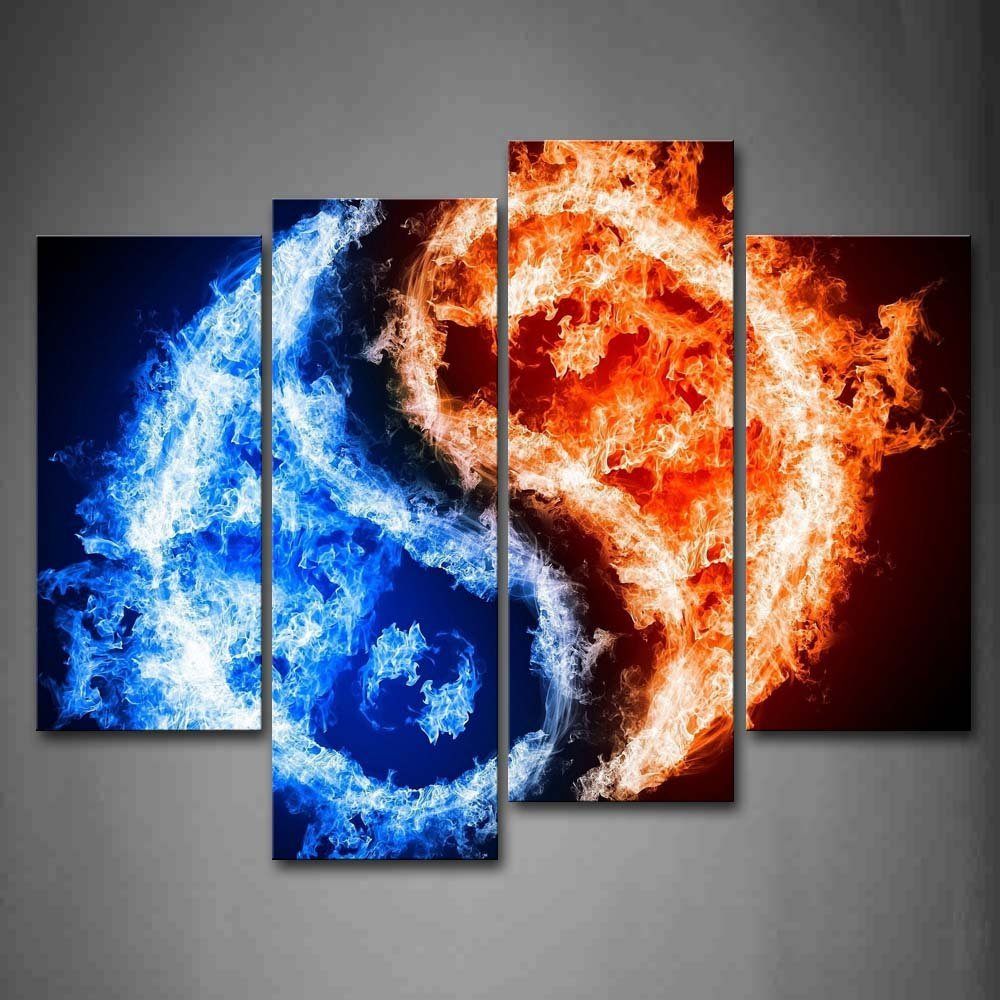 Us 10 08 Canvas Painting New 4 Piece Fire And Ice Black Background Wall Art Painting Print On Canvas Abstract For Home Decoration R187 In Painting