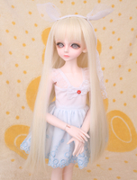 doll accessories 1/4 bjd wig Doll long straight blonde wig hair basic simple hair pale gold