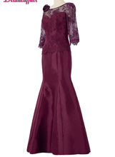 KapokBanyan Real Photo Purple Lace Scoop Prom Dresses 2017 Vestido de festa Cheap 1/2 Sleeve Party Evening Simple Robe soiree
