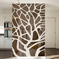 Removable 3d diy mirror wall stickers tree bedroom living room decoration TV background wall decor acrylic stickers mirror paste