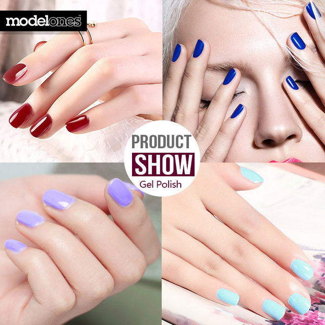 Modelones French Manicure Style Nail Gel Polish Classic Red Color Cure UV Lamp Varnish Grey