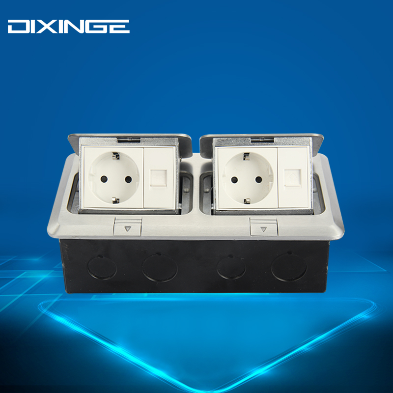 German Standard Socket With computer Tel Panel Stop Contacten Standard Adapter Silvery Outlet Socket 16 A B120-L153 dixinge high quality brand german standard socket wall socket tv outlet silvery were pc material panel b120 l134