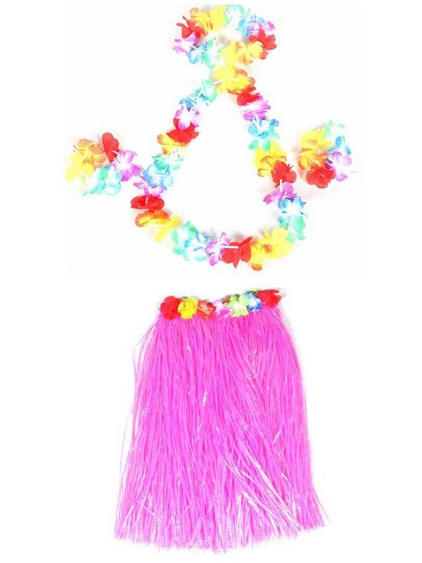 ᗑ20 Sets 60cm Hawaiian Hula Grass Skirt + 4pc Lei Set for Adult ...