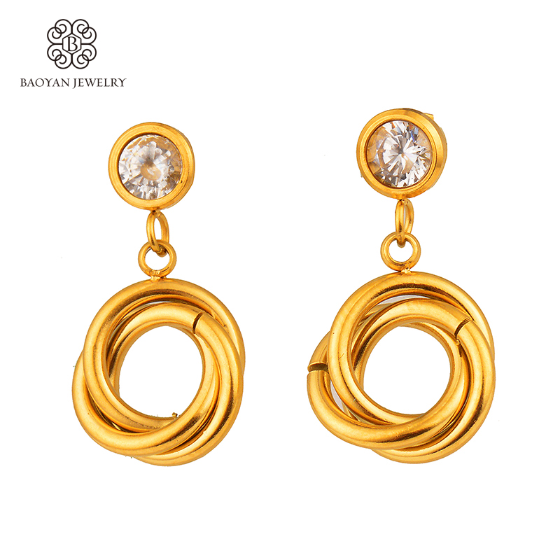 baoyan 2017 fashion gold color drop earrings